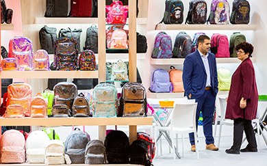 school backpacks at the fair stand